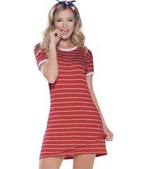 vestido corto rojo rayas atypical