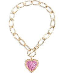 gabi rielle women's city of lights 14k gold vermeil & crystal heart pendant bracelet