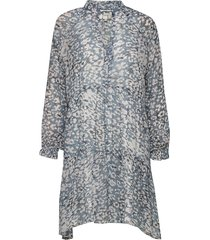 clouds ls midi dress jurk knielengte blauw second female