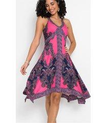 jersey jurk met print en asymmetrische onderrand