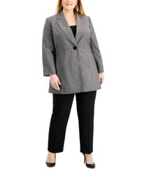 le suit plus size long plaid jacket pantsuit