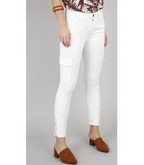 calça de sarja feminina skinny cargo off white