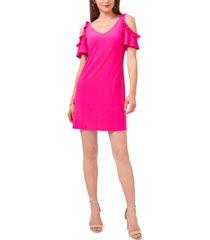 msk petite cold-shoulder flutter-sleeve dress