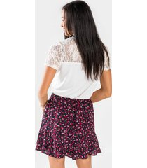 blair floral godet mini skirt - navy
