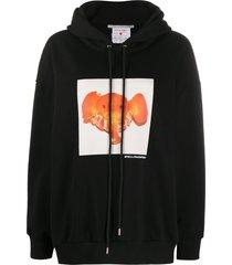 stella mccartney tangerine elephant-print hoodie - black