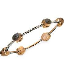 10k gold, smoky quartz & diamond station bracelet