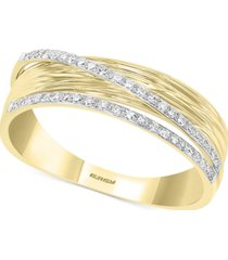effy diamond double row textured statement ring (1/6 ct. t.w.) in 14k gold