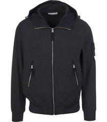 stone island blue cotton-blend zip-up logo-patch hoodie jacket