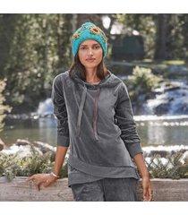 sundance catalog women's aurora hoodie in charcoal xs