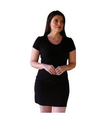 vestido camisão feminino preto manga curta em algodão com elastano