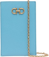 salvatore ferragamo gancini phone crossbody bag 11cmx17cm - blue