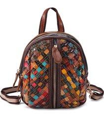 donne vera pelle borse multi-slot per zaino cucito patchwork a mano