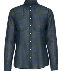 d2. fall flower cot slik shirt overhemd met lange mouwen groen gant
