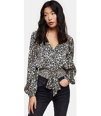 petite animal print shirred tie front top - natural