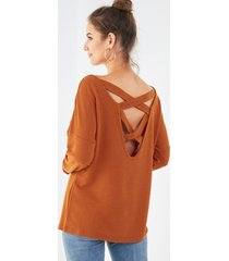yoins naranja cruzado espalda redonda cuello sudadera de manga larga