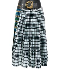 chopova lowena contrast panel pleated skirt - green