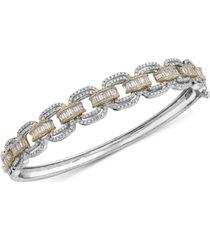 effy diamond link design bangle bracelet (2 ct. t.w.) in 14k white gold and 14k yellow gold