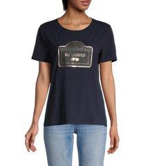 karl lagerfeld paris women's rue lagerfeld t-shirt - marine - size xxs