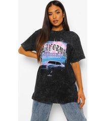 petite acid wash gebleekt california t-shirt, charcoal