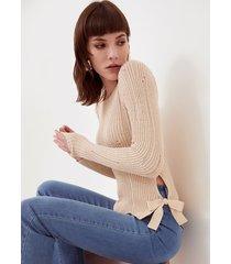 motivi maglia effetto damaged donna beige