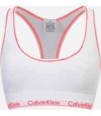 calvin klein women's modern cotton bralette - white/bright nectar - m