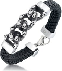 andrew charles by andy hilfiger men's skull link leather bracelet in stainless steel