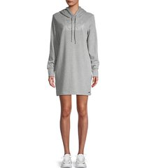 graphic cotton-blend hooded sweater dress