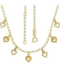 gargantilha prata mil com corações mini e vazados com alongador 5cm dourado