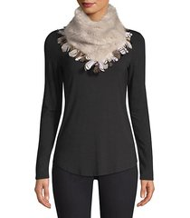 faux fur & pheasant feather scarf