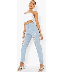 extreem gescheurde high rise mom jeans, light blue