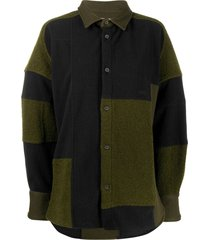 ambush patchwork fleece shirt - green