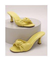 tamanco feminino oneself com nó salto médio taça amarelo