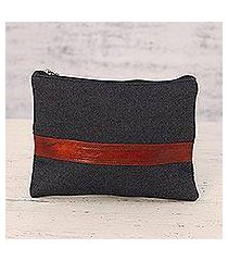 leather accent denim cosmetic bag, 'far reaches' (india)