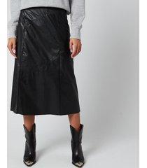 isabel marant women's domi faux leather mid skirt - black - fr38/uk10