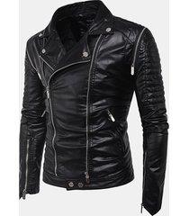 tasche nero zipper biker giacca in pelle sintetica faux per uomo