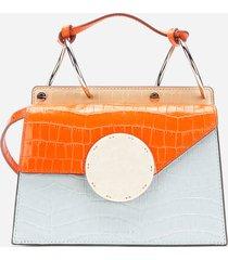 danse lente women's phoebe shoulder bag - pale blue/papaya croc