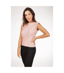 regata de tricot modal canelado com babado pink tricot feminina