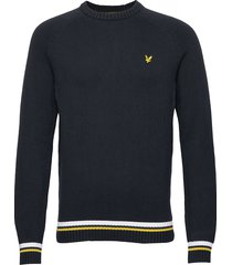 multi rib knitted jumper stickad tröja m. rund krage blå lyle & scott