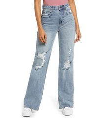 bp. high waist distressed wide leg jeans, size 29 in light wash at nordstrom
