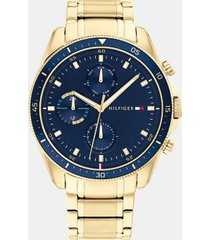 tommy hilfiger men's gold plated bracelet watch wi sub-dials gold -