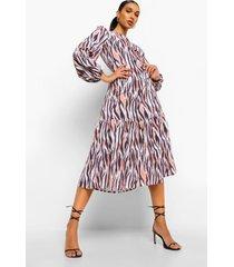 midaxi-jurk met verlaagde zoom en zebraprint, nude