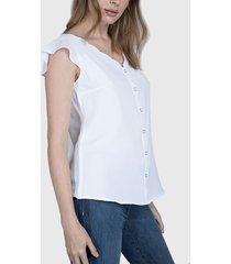 blusa ash escote ondeado blanco - calce regular