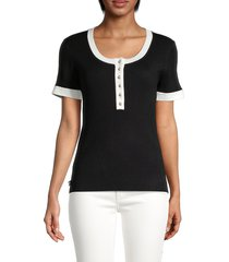 karl lagerfeld paris women's contrast-trimmed top - black - size s