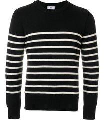 ami breton stripes crew neck sweater - black