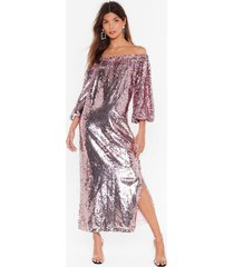 womens ready for a dance off-the-shoulder sequin dress - pink