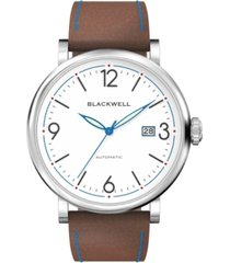 blackwell white dial with silver tone steel and brown leather watch 44 mm