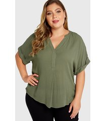 plus size army green v-neck half sleeves blouse