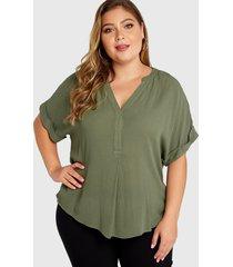 plus blusa de media manga con cuello en v verde militar