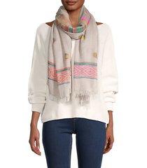 colorful fringe cotton scarf