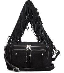 ellie suede w. fringes bags top handle bags zwart nunoo